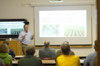 NDSU Extension sugar beet agonomist Tom Peters talks to producers about weed identification. (NDSU photo)