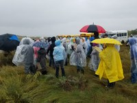 More than 100 youth prepare to judge in the rain during the North Dakota 4-H range judging contest. (NDSU photo)
