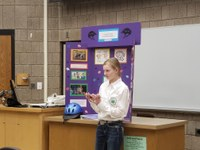 """Abby Freeberg, Ransom County, presents """"""""The Importance of Wearing a Helmet"""""""" in junior division public speaking."""