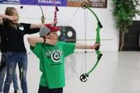 Noah Crain, a McKenzie County 4-H member, takes aim at the North Dakota 4-H Archery Indoor Championships.