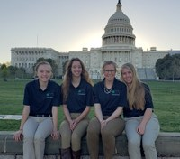 N.D. delegates to National 4-H Conference visited the U.S. Capitol. From left are Maria Brien, Rolla; Katherine Kempel, Casselton; Victoria Christensen, Courtenay; and Kaitlyn Joerger, Mayville.