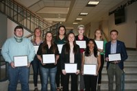 NDSU College of Agriculture, Food Systems, and Natural Resources Top 10 Seniors for 2019 were (front row left to right) Shane Giedd, Kacey Koester, Adreanna Trzpuch, Prajakta Warang, Chase Ouse Grindberg. (back row) Elizabeth Blessum, Shelby Hartwig, Hannah Ohm, Shelby Grabanski (Not pictured: Hannah Rehder) (NDSU Photo)