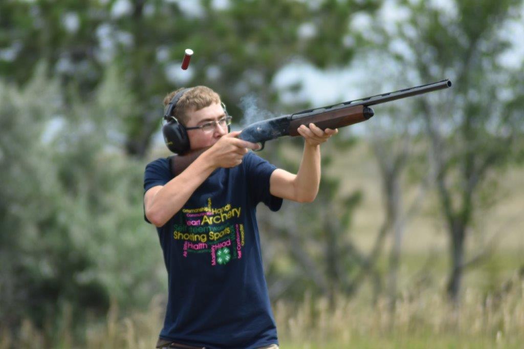Adam Kautzman from Hettinger County, takes aim during the 2019 North Dakota 4-H State Shotgun Match. (NDSU Photo)
