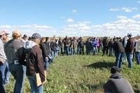 Area producers and students from Dickinson State University attend a past Soil Health Field Day at the Dickinson Research Extension Center. (NDSU photo)