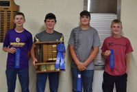 Placing first in the senior division of the state 4-H land judging contest was the team from Nelson County. Team members (from L to R) are: Jack Steffan, Roman Steffan, Torey Charles and Anthony Braun.