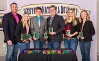 North Dakota's 4-H team takes fourth place in livestock judging at the Western National Roundup in Denver, Colo. Pictured are, from left: coach Zac Hall and team members Kaitlyn Peterson, Bradyn Lachenmeier, Ethan Galbreath, Madeliene Nichols and Chayla Kuss. (Photo courtesy of Western National Roundup)
