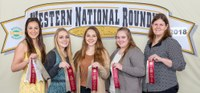 North Dakota's Ward County 4-H team places 12th in horse judging at the Western National Roundup in Denver, Colo. Pictured are, from left: team members Sidney Lovelace, Kaitlyn Berg, Madilyn Berg and Mariah Braasch, and coach Paige Brummund. (Photo courtesy of Western National Roundup)
