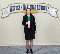 Teresa Wald of Kidder County, N.D., places fifth in horse public speaking at the Western National Roundup in Denver, Colo. (Photo courtesy of Western National Roundup)