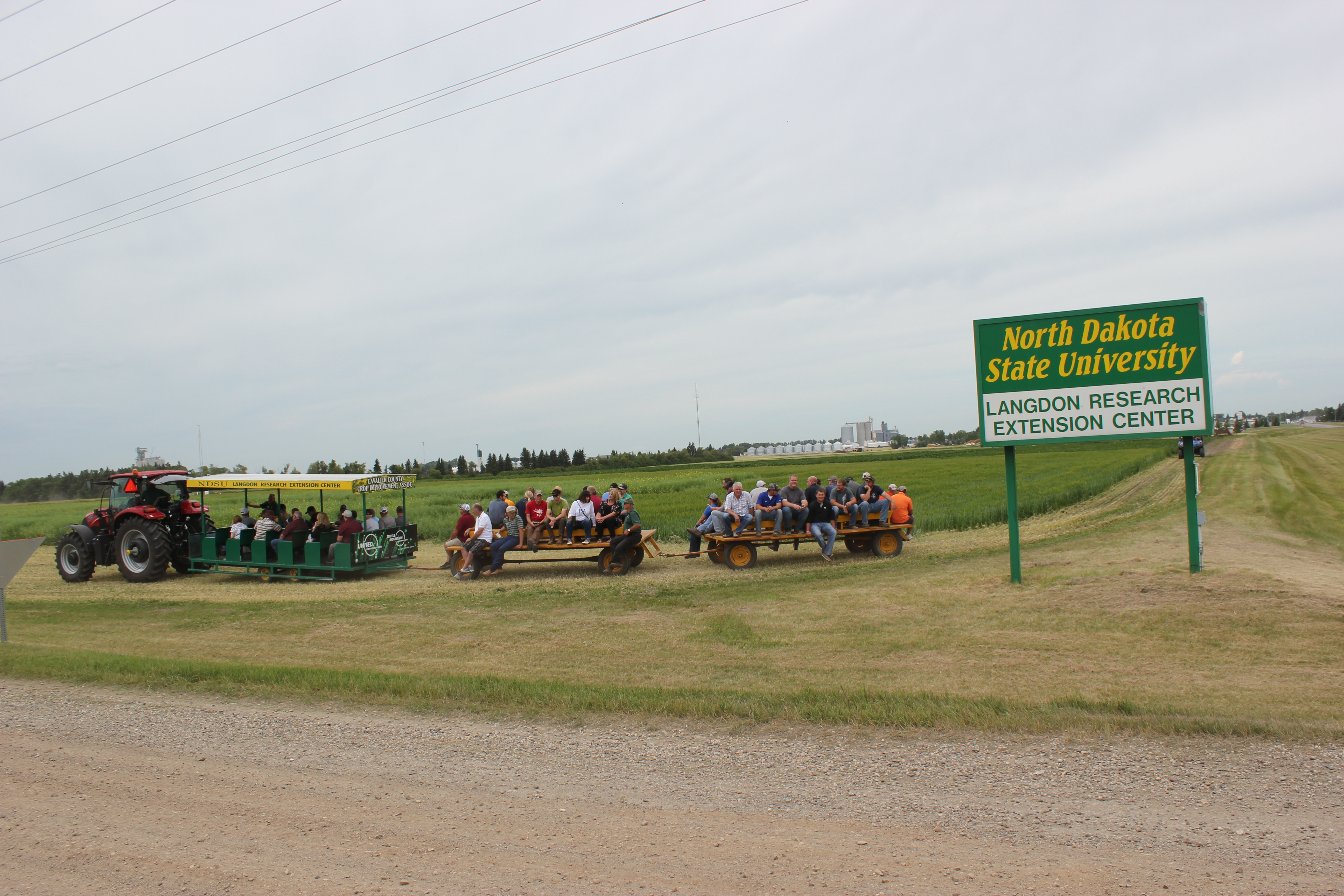Visitors take part in a tour during a field day at NDSU's Langdon Research Extension Center. (NDSU photo)