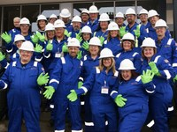 RLND Class VII suits up to tour an oil drilling and fracking site near Watford City, N.D. (NDSU photo)