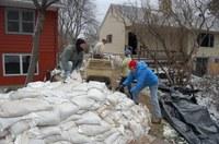 NDSU Extension has numerous resources to help you prepare for a flood, including how to build a sandbag dike. (NDSU photo)