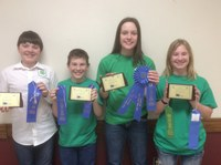 The Sargent County team took first place in the junior division of the North Dakota State 4-H Crop Judging Contest. Team members pictured are (from left): Michael Hoistad, James Throener, Jami Bopp and Olivia Throener. (NDSU photo)