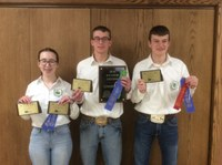 The Ward County team took first place in the senior division of the North Dakota State 4-H Crop Judging Contest. Team members pictured are (from left): Aubrey Lemer, Thomas Schauer and Matthew Schauer. (NDSU photo)
