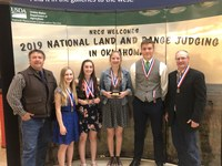 The Oliver County 4-H team placed fourth in national range judging. From left are Kevin Sedivec, NDSU Extension rangeland management specialist; Reanna Schmidt, Rebecca Schmidt, Olivia Klein, Charlie Liffrig and Rick Schmidt, NDSU Extension Oliver County agent. (NDSU Photo)