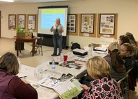Alicia Harstad, NDSU Extension agent from Stutsman County, speaks to women participating in the Kidder County Annie's Project program. (NDSU)