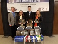 North Dakota's 4-H meats judging team places first in national competition. Pictured are (from left) coach Gary Martens and team members Rhea Laib, Evan Bornemann and Ryeleigh Laib. (NDSU photo)