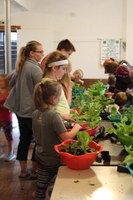 Members of the Busy Butterflies Country Critters 4-H Club in Stutsman County plant salad bowl gardens. (NDSU photo)