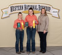Sargent County 4-H'ers took third place in horse presentations at the Western National Roundup in Denver, Colo. Pictured are (from left) team members Abby Erickson and Anna Hoistad and coach Christine Bopp. (Photo courtesy of Western National Roundup)