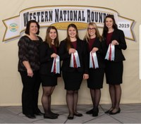 The Ransom County team placed 10th in horse judging at the Western National Roundup in Denver, Colo. Pictured are (from left) coach Sara Lyons and team members Emma Gillespie, Lydia Lyons, Ayriel Lyons and Kasen Anderson. (Photo courtesy of Western National Roundup)
