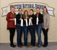 The Sargent County team placed fourth in the horse quiz bowl at the Western National Roundup in Denver, Colo. Pictured are (from left) coach Julie Hassebroek; team members Kari Fuhrman, Kassidy Larson, Jacy Bopp and Allie Bopp; and coach Christine Bopp. (Photo courtesy of Western National Roundup)