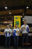The Ward County team placed first in the junior division of the North Dakota state 4-H crop judging contest. Pictured are, from left: Daylon Yanish, Abby Finke and Mark Schauer. (NDSU photo)