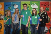 The Oliver County team took first place in the senior division of the state 4-H livestock quiz bowl. Pictured are, from left: team members Reanna Schmidt, Morgan Miller, Jacob Klaudt and Rebecca Schmidt, and coach Rick Schmidt. (NDSU photo)