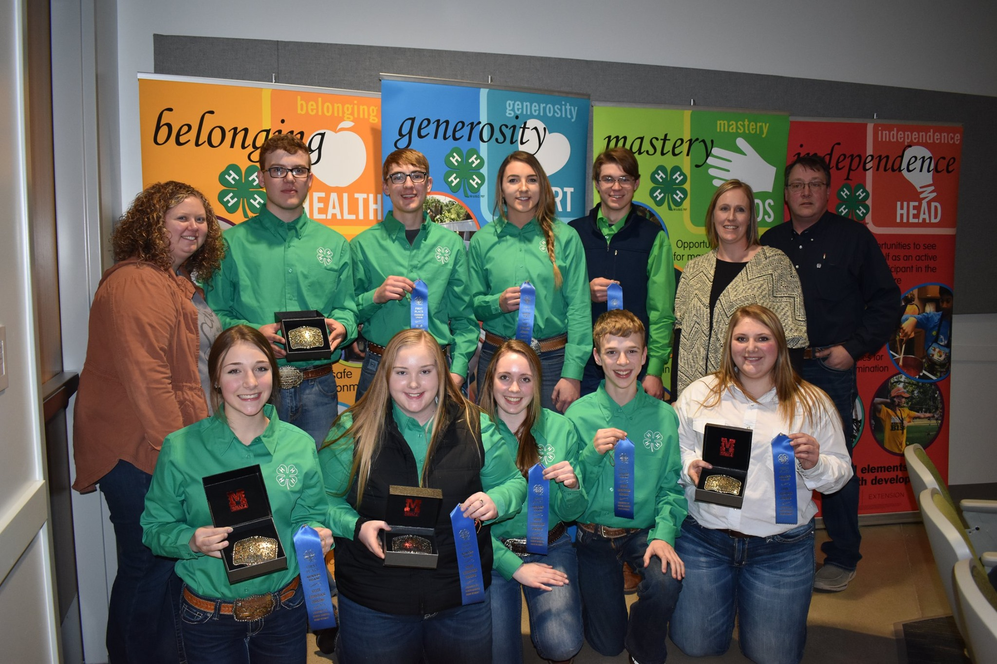 The Mountrail County 4-H team took first place in the senior division of the North Dakota state 4-H livestock judging contest. Pictured are (back row from left): Bailey Hawbaker; team members Fletcher Hennessy, Ty Fladeland, Logan Lapica and Kash Lee; Jess Bullinger; and coach Jim Hennessy; (front row from left): team members Calli Hennessy, Mariah Braasch, Kyra Fox, Jacob Littlefield and Morgan Vachal. (NDSU photo)