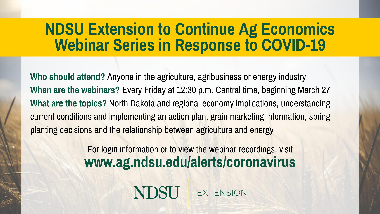 NDSU Extension to Continue Ag Economics Webinars in Response to COVID-19 (NDSU photo)