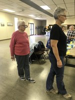 Older adults practice their balance during a Stepping On program. (NDSU photo)