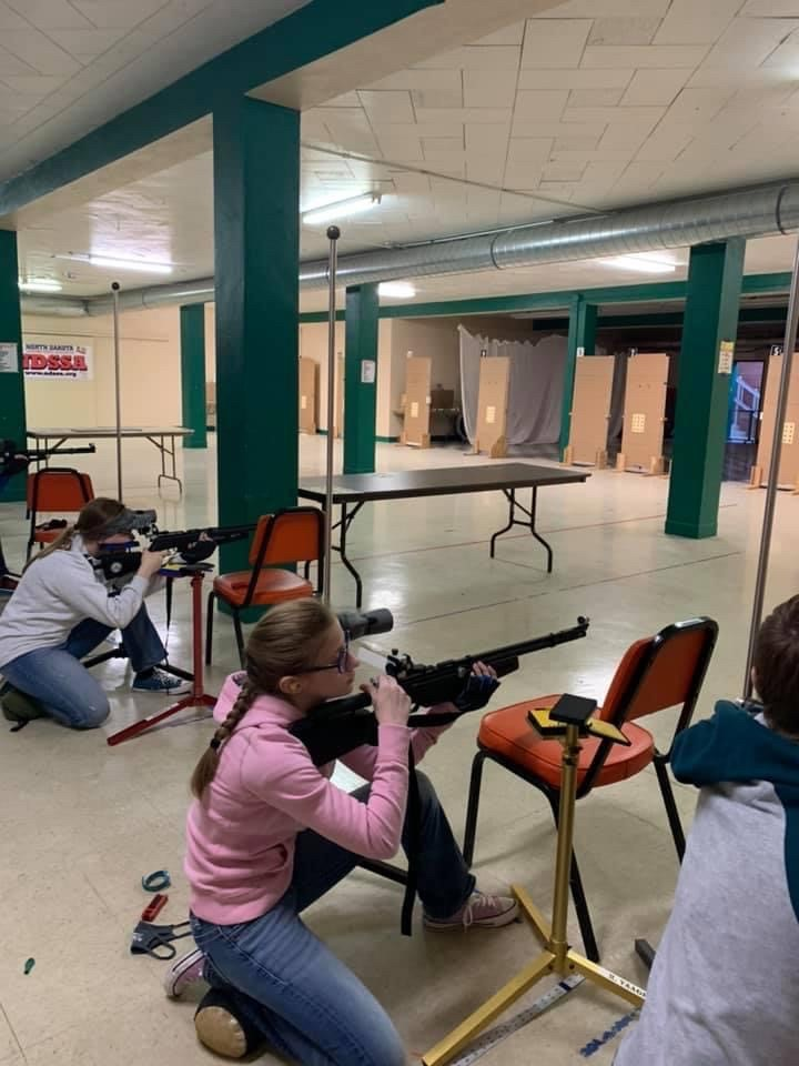 Ramsey County youth take aim at targets during the 2021 4-H State Air Rifle Championships. (NDSU photo)
