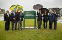 NDSU's state-of-the-art greenhouse complex now is the Jack Dalrymple Agricultural Research Complex. (L to R): NDSU President Dean Bresciani, Senator John Hoeven, Vice President for Agricultural Affairs Greg Lardy, SBARE Chair Mark Birdsall, former Governor Jack Dalrymple, Governor Doug Burgum, Lieutenant Governor Brent Sanford and former Lieutenant Governor Drew Wrigley. (NDSU Photo)