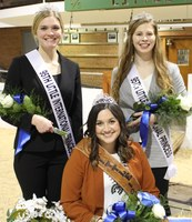Little I Queen Samantha Pernsteiner (seated, center) and Princesses Annabelle Hardwick (standing, left) and Maddie Patterson promote the NDSU Little International, which will be on the NDSU campus Feb. 13.