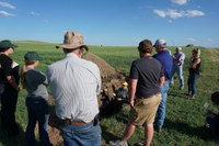 Visitors learn about soil sampling during a field tour at NDSU's Dickinson Research Extension Center. (NDSU photo)