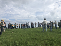Kevin Sedivec, director of the Central Grasslands Research Extension Center, talks to visitors during a field day at the center. (NDSU photo)