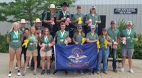 North Dakota 4-H'ers brought home several honors from the 4-H National Shooting Sports Championships. Pictured are, from left, back row: Clay Ceynar, Bjorn Brose, Ethan Myers, Tate Novodorsky, William Schmidt, Taik Larsen, Brennan Weiderrich and Tyler Brusseau; front row: Cassandra Christenson, Casia Steinhaus, Hannah Vaagen, Jacob Vaagen, Katie Schmidt, Shianne Boehm and Kendra Boehm. (NDSU photo)