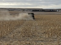 Lime is being spread on an acid soil. (NDSU photo)