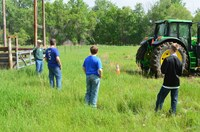 Youth learn about safe farm practices during an NDSU Extension Tractor Safety School. (NDSU photo)