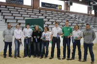 The Stark-Billings County team placed first in the senior division of the state 4-H meat judging contest. Pictured, from left, are coach Kurt Froelich, team members Quinn Polensky, Jess Schulz, Katie Schmidt, Taylor Downing, Will Schmidt, Wyatt Dorner and Justin Kathrein, and coach Wyatt Schulte. (NDSU photo)