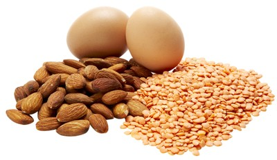 Eggs, nuts and beans