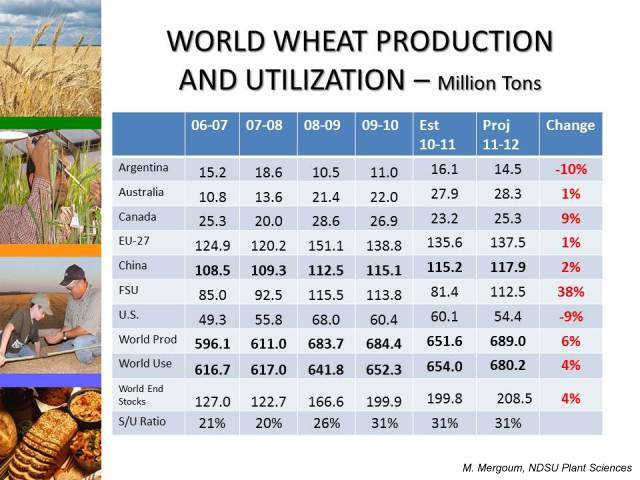 World Wheat Production Utilization Table