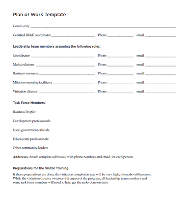 Plan of Work Template Page 1