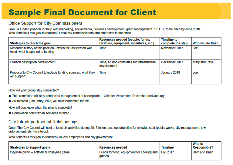 Sample Final Document for Client