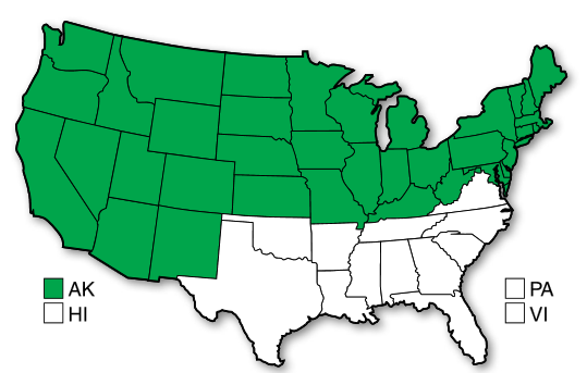 Distribution of biennial wormwood in US in 2000