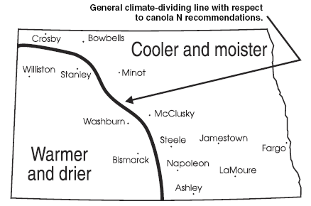 General climate map of ND