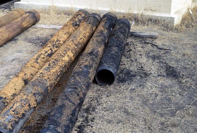 Iron bacteria on pump column riser pipe