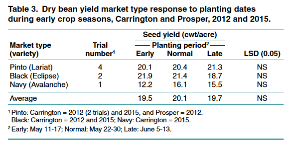 Dry bean yield early crop seasons