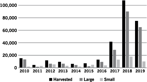 Figure 3. Chickpea harvested acres showing large (kabuli) and small-seeded (desi) chickpea varieties planted from 2010 to 2019 in North Dakota (2019 planting intention is at the beginning of the season).