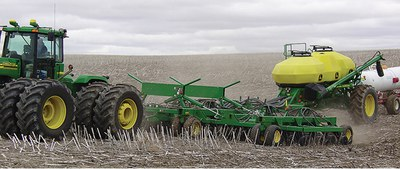 one-pass seeding operation seeding directly into wheat stubble