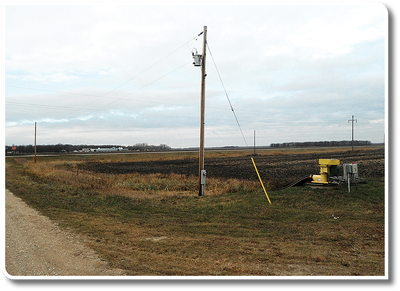 Tile drainage pump station near power lines
