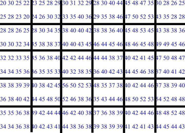 Normalization process grid superimposed